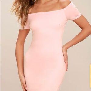 Lulu's blush pink M off shoulder bodycon dress